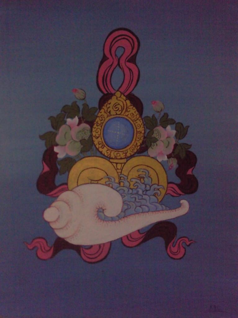 Offrandes dans Peinture Tibétaine offrandes
